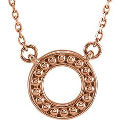 Rose Gold Beaded Circle Necklace