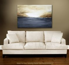 landscape painting original large painting gray by RawArtGallery, $174.00