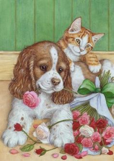 Love you guys🍃🌹🍃Thankyou for all your messages and pins🍃❤️🍃Sorry I can't get back to you all but I'm thinking of you🍃🌹🍃Sending love, hugs and prayers x o x o Have a lovely SONday☀️ Love you too sweet Annie. Illustration Mignonne, Cute Illustration, Kittens And Puppies, Cats And Kittens, Art Mignon, Cat Dog, Dog Art, Animal Drawings, Cute Art