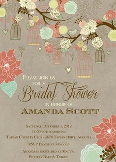 Branch with Bird Cages Bridal Shower Invitation by PartyPopInvites, $16.00