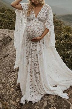 Maternity Fashion Loose Lace Long Sleeve Maxi Dress - Product number brand name Mamipop occasion wedding,Holiday,beach,Banquet Pattern - Maternity Dresses For Photoshoot, Maternity Gowns, Maternity Fashion, Bohemian Maternity Dress, Maternity Photos, Maternity Style, Long Sleeve Maxi, Maxi Dress With Sleeves, Long Sleeve Maternity Dress