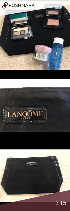 LANCÔME bundle 💥 Lancôme bundle it in includes: Bienfait multi-vital sunscreen cream 0.5oz Makeup remover 1.7oz Mini 5 color palette  Mini blush subtil Sheer Amourose Makeup bag  Perfect size for traveling they all fit in makeup bag. All new items never been used. Lancome Bags Cosmetic Bags & Cases