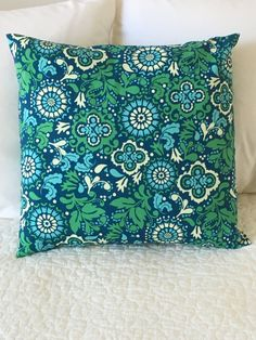Blue and Green - Pillow Cover - Koko Lee Designer - Swappillow Covers - Gift - Envelope Closure - Decorative Pillow Cover - 16x16 by KathyRyanDesigns on Etsy