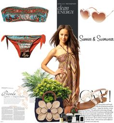 """""""Sunnies and Swimwear"""" by nathaliabarbosa11 ❤ liked on Polyvore"""