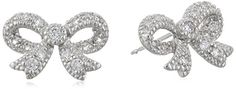 RhodiumPlated Sterling Silver Cubic Zirconia Bow Stud Earrings 08 cttw *** You can find out more details at the affiliate link of the image.