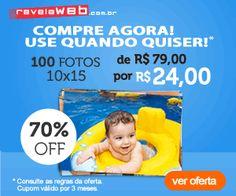 Só na RevelaWeb você compra 100 revelações de fotos 10cm x 15cm com 70% de desconto, pagando apenas R$ 24,00.