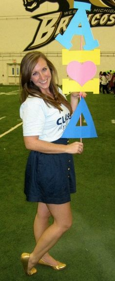 Some girls don't have any notifiers to hold on Bid Day?  Make these cute letters-on-a-stick for them.