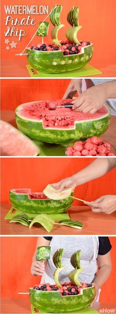 Carving into watermelons is a great way to serve fruit all summer long. And this Pirate Ship is awesome and really easy to make! http://www.ehow.com/how_8237303_carve-watermelon-pirate-ship.html?utm_source=pinterest.com&utm_medium=referral&utm_content=inline&utm_campaign=fanpage