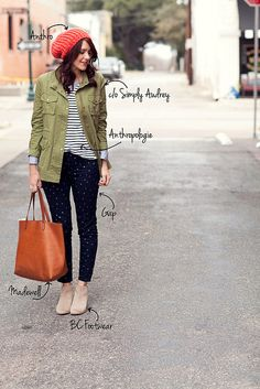 Stripes, navy polka dot pants, olive jacket, and red beanie.  Love the chambray top peaking out, too.   Kendi Everyday