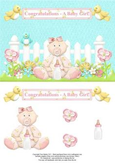 New baby girl garden scene topper decoupage on Craftsuprint - View Now!