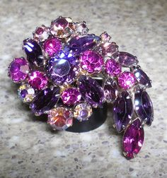 Weiss Brooch Rhinestones Lavender, Purple , Pink, Violet I can turn this into a necklace , Special orders