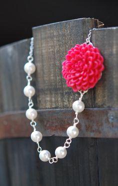Asymmetrical Flower and Swarovski Pearl Necklace -  via Etsy.com
