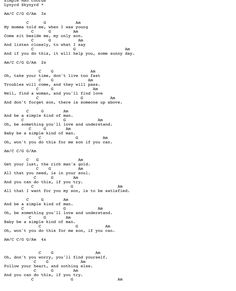 Lynyrd Skynyrd - Simple Man w/ Guitar chord chart and lyrics Guitar Chords And Lyrics, Guitar Chords For Songs, Uke Songs, Guitar Chord Chart, Guitar Sheet Music, Guitar Tabs, Simple Ukulele Songs, Acoustic Guitar, Guitar Lessons For Beginners