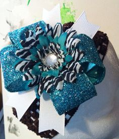 Teal and Zebra Glittered Boutique Bow on Etsy, $5.00