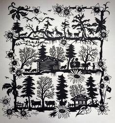 Laurel Tattoo, Paper Cutting, Cut Paper, Paper Crafts Origami, Art Template, Textile Art, Pixel Art, Silhouettes, Folk Art