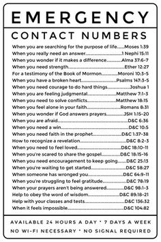 Emergency Contact Numbers: LDS scripture references. Great for Young Women and Young Men, easy to photocopy. hard