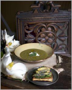 Creamy Roasted Asparagus Soup with Crème Fraiche