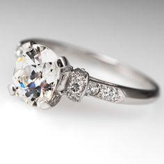 Eco-Friendly Old Miner Diamond Engagement Ring Platinum 1930's