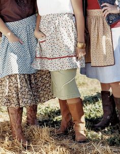 I love the prairie aprons...would look great with boots and a denim skirt!
