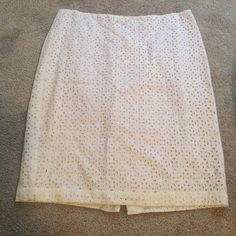 Skirt Tan and cream eyelet skirt. Great for spring, summer and fall! Can be dressed up or down and looks great with anything! Talbots Skirts Pencil