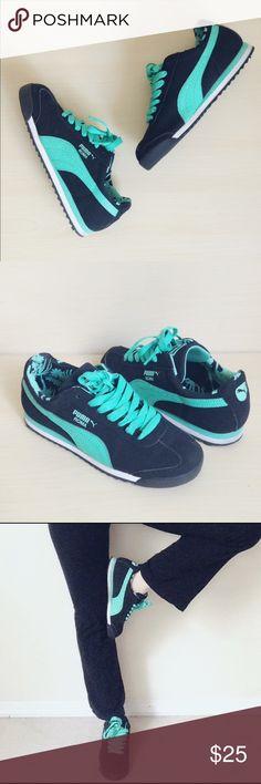 7e47a84f5 Puma Roma black   green sneaker Worn only 3-4 times. Soles are still
