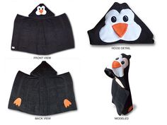 Penguin Hooded Towel for ADULTS