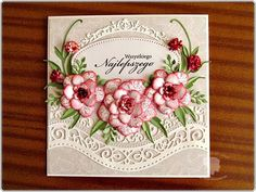 hania739, Card with flowers, used Spellbinders dies