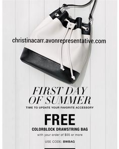 Check out this gorgeous #free #avon bag with any $55 order!  Online only Use #coupon code BWBAG at checkout at christinacarr.avonrepresentative.com
