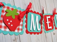 Strawberry Birthday Party Personalized Name Banner in Red and Teal, Party Decorations, Strawberry Party Supplies, Party Decor, Party Garland by sweetheartpartyshop on Etsy https://www.etsy.com/listing/526561120/strawberry-birthday-party-personalized