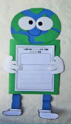 This project is so cute and students get to work on writing as well as learning about the Earth! I would have students write about what they can do to celebrate the Earth and make it a better place to live. Earth Day Activities, Spring Activities, Science Activities, Writing Activities, 1st Grade Science, Kindergarten Science, Kindergarten Classroom, Preschool, First Grade Classroom