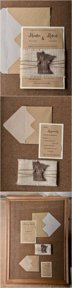 Rustic country burlap wedding invitations @4LOVEPolkaDots