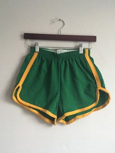 Green 70s High Waisted Track Shorts  kelly green and yellow
