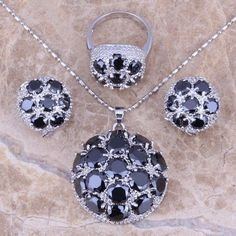 Gracious Black Sapphire 925 Sterling Silver Overlay Jewelry Sets Earrings Pendant Ring Size 6 / 7 / 8 / 9 / 10 / 11 / 12 S0025  #rings #jewelry #jewelrysets #jewellery #weddingjewelry