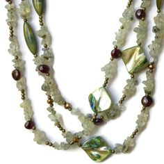 Extra Long Multi Strand Mint Green Necklace/ by ALFAdesigns, $89.99