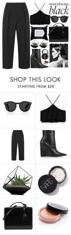 """ALL BLACK EVERYTHING"" by evangeline-lily ❤ liked on Polyvore featuring Illesteva, Zara, Joseph, Balenciaga, Mark Cross, Sigma, Inglot, zara, allblack and fallwinter2017"