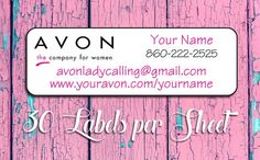 Personalized AVON Representative Campaign Brochure/Address LABELS!! 30 Labels per sheet of Labels All of our labels are peel and stick, acid-free and printed on a color laser printer and are smudge fr