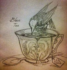 chiara bautista. bird, broken tea cup. black tea.