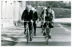 Ferdinand Bracke, world hour record holder and some of his Peugeot squad out on a training run. There's a considerable presence among them with multiple Tour de France champion Jacques Anquetil (Bic) on Ferdinand's left and Raymond Poulidor (Mercier) behind him. Behind Jacques is the young Eddy Merckx (Peugeot).