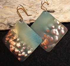 Hammered copper earrings  green square copper jewelry by Dawily, $22.00