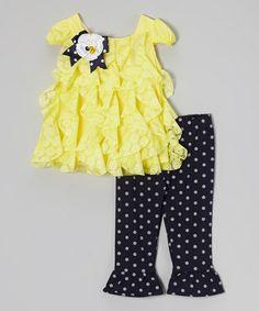 Look at this #zulilyfind! Yellow Cascade Tunic & Navy Leggings - Infant #zulilyfinds