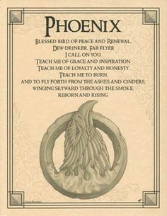 Parchment Spirit of PHOENIX PRAYER Animal Book of Shadows Page Wicca Witchcraft