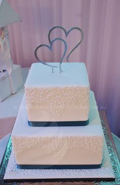 Square Wedding Cake May 2014 Venue Brown Sugar Warners Bay Lake