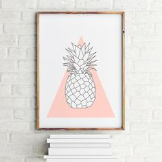 Geometric art print poster Pineapple Coral / Printable  /  Scandinavian art / Nordic Art /  Wall Decor / digital print illustration