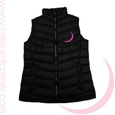Shop for All Apparel and so much more at Crescent Corner Black Puffy Vest, Gamma Phi Beta, Under The Moon, Corner Designs, Sorority, Things To Buy, Cresent Moon, My Style, Greek Life