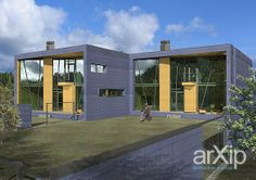 "Двухквартирный дом ""Кубы моря"": архитектура, 2 эт | 6м, жилье, модернизм, 200 - 300 м2, фасад - кирпич, каркас - ж/б, таунхаус #architecture #2fl_6m #housing #modernism #200_300m2 #facade_brick #frame_ironconcrete #townhouse arXip.com"