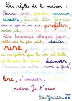 règles de la maison, amour, bonheur, famille Education Positive, French Lessons, Sweet Words, Positive Attitude, Kids And Parenting, Affirmations, Bullet Journal, Inspirational Quotes, Positivity