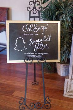 Wedding Snapchat Filter Sign | Using Social Media at your wedding | Treasury on the Plaza Blog