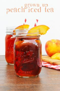 This grown up peach iced tea is the perfect summer cocktail recipe! I can't wait to mix some for our fourth of july party!