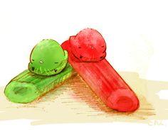フキの仲間の砂糖漬け。赤がルバーブ、緑がアンゼリカ。