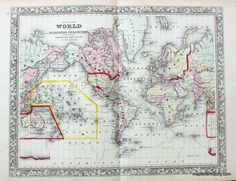 Antique Map of the World on the Mercator Projection - Great for Father's Day – Original, Vintage, Rare Historical Antique Maps, Charts, Prints, Reproductions of Maps and Charts of Antiquity - MapsofAntiquity.com